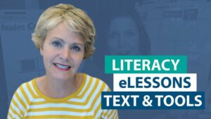 Where can I find the texts and resources used within the free Literacy eLessons?